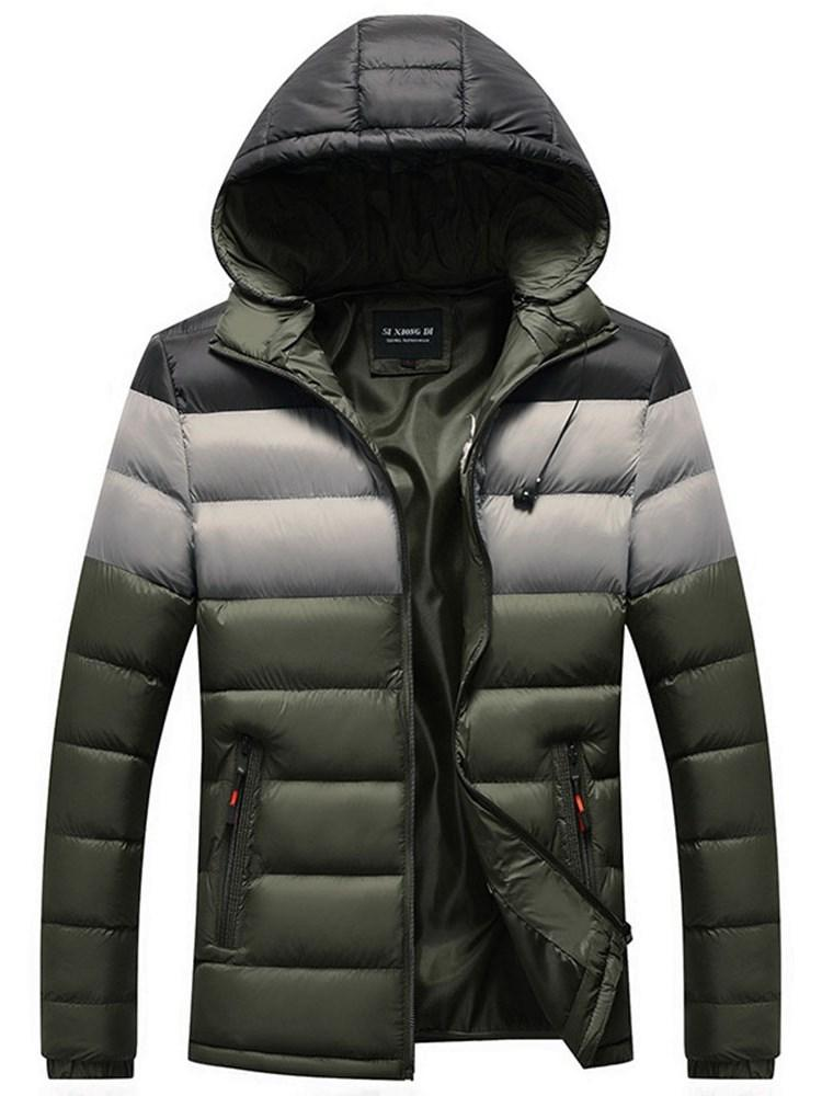 Color Block Hooded Standard European Zipper Down Jacket
