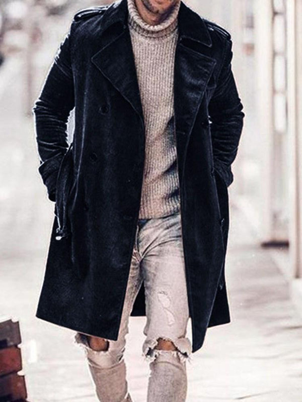 Mid-Length Pocket Plain Casual Double-Breasted Coat