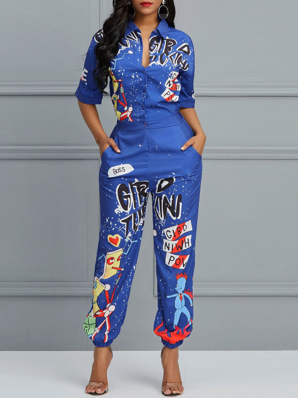 Full Length Letter Print Mid-Waist Loose Jumpsuit