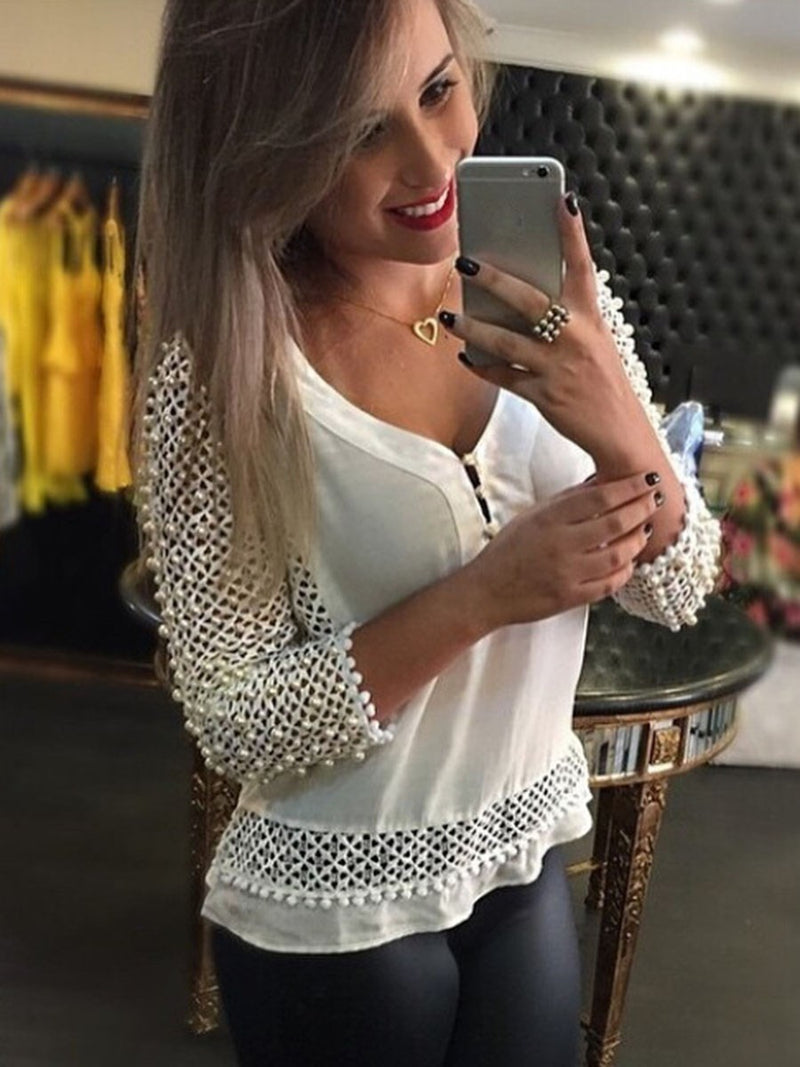 Regular V-Neck Long Sleeve Standard Blouse