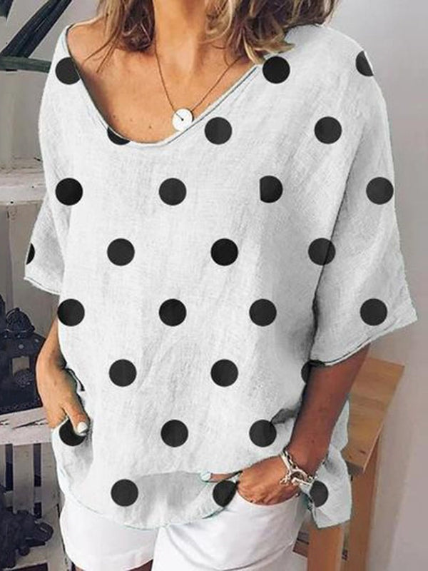 Three-Quarter Sleeve Polka Dots Mid-Length Casual Loose T-Shirt