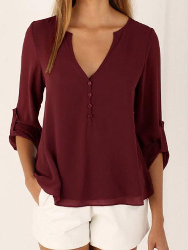 Plain V-Neck Long Sleeve Mid-Length Blouse