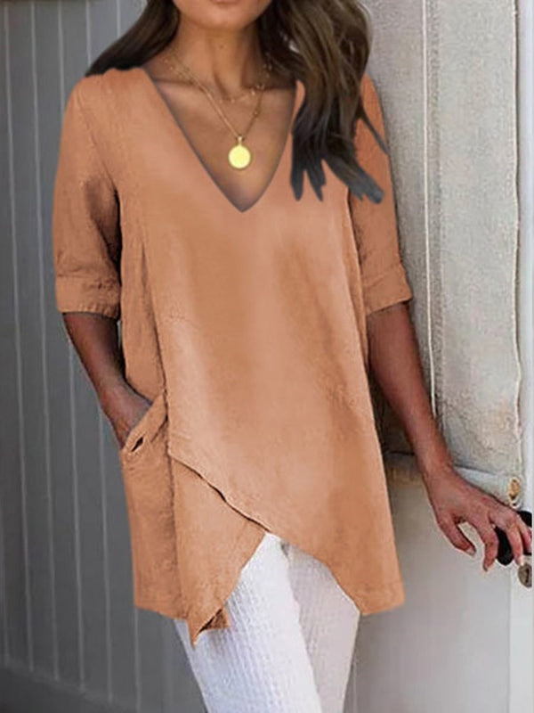 Plain V-Neck Mid-Length Straight Casual T-Shirt