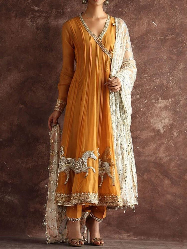 Ethnic Dress Mid-Calf Embroidery V-Neck Western Pullover Dress Diwali