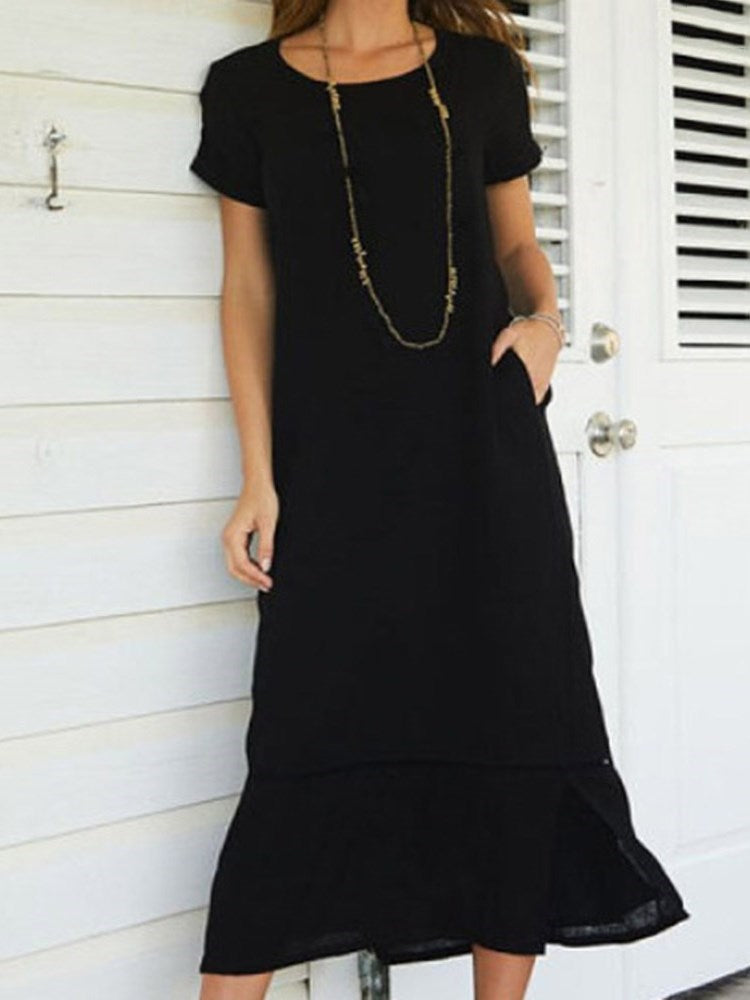 Short Sleeve Round Neck Mid-Calf Plain Pullover Dress