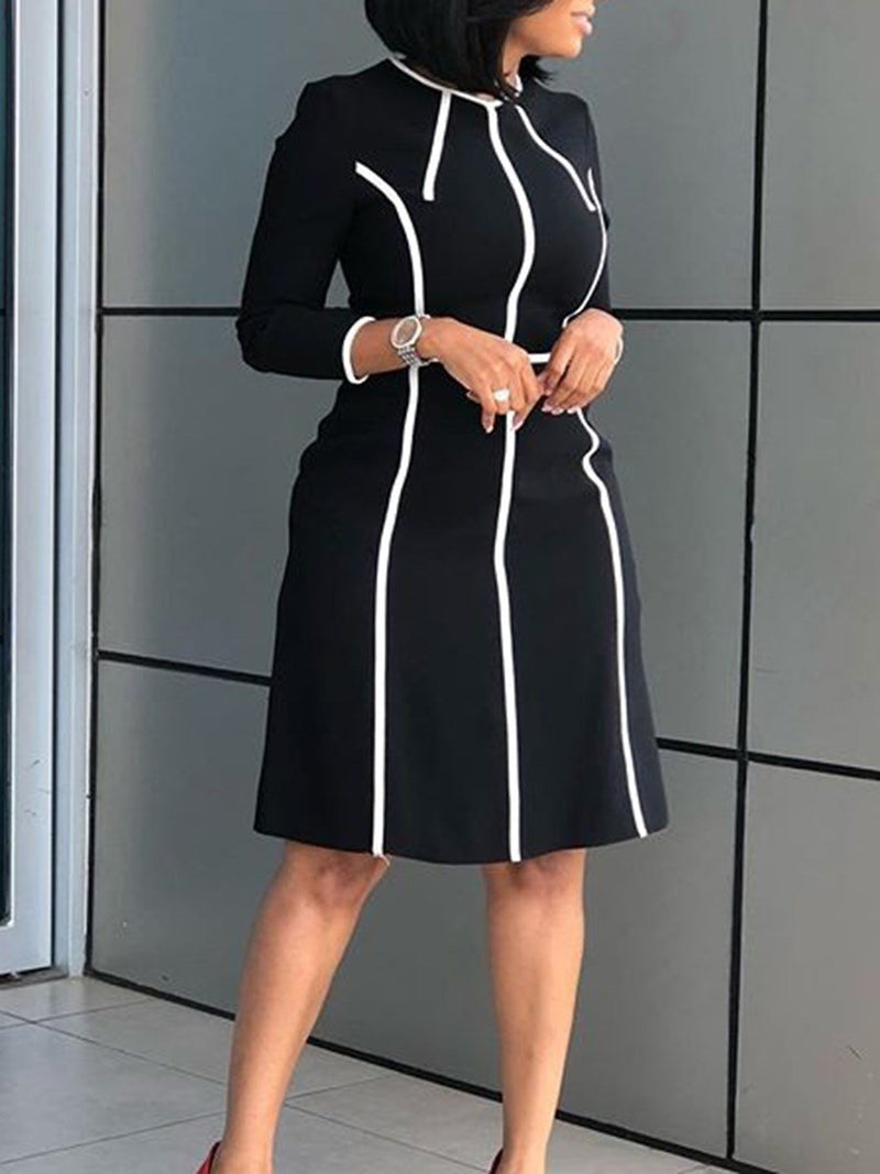 Women's Contrast Color Knee-Length Casual Dress
