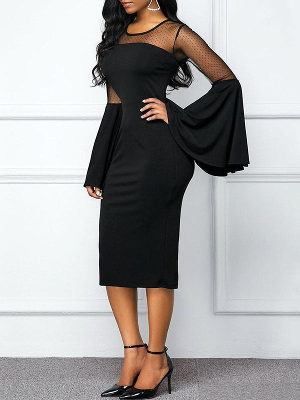 Long Sleeve Round Neck Mid-Calf Flare Sleeve Western Dress
