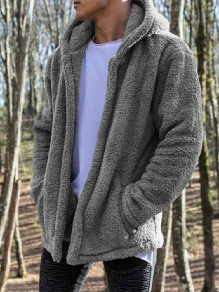 Hooded Pocket Plain Winter Loose Jacket