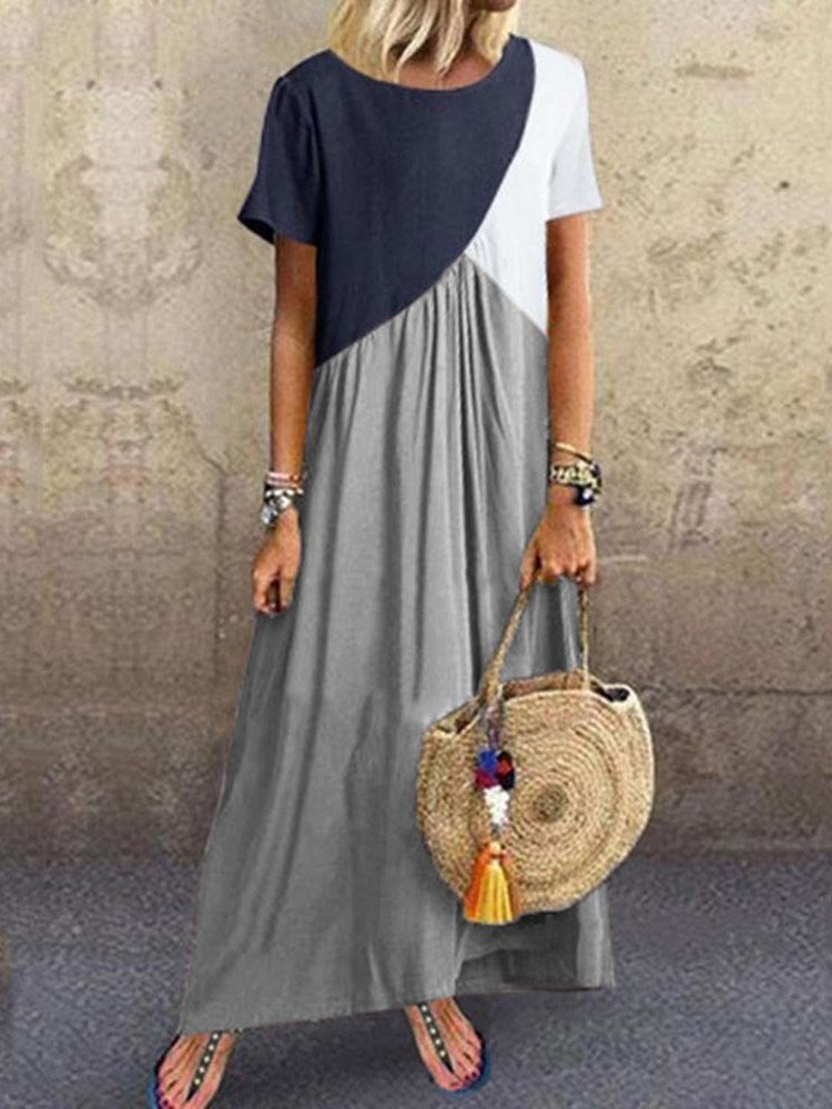 Round Neck Ankle-Length Patchwork Color Block Pullover Dress