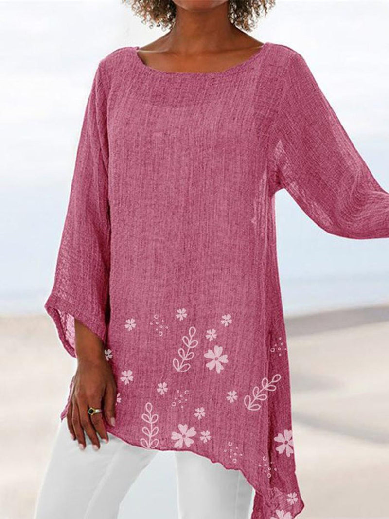Mid-Length Floral Round Neck Date Night Fall T-Shirt