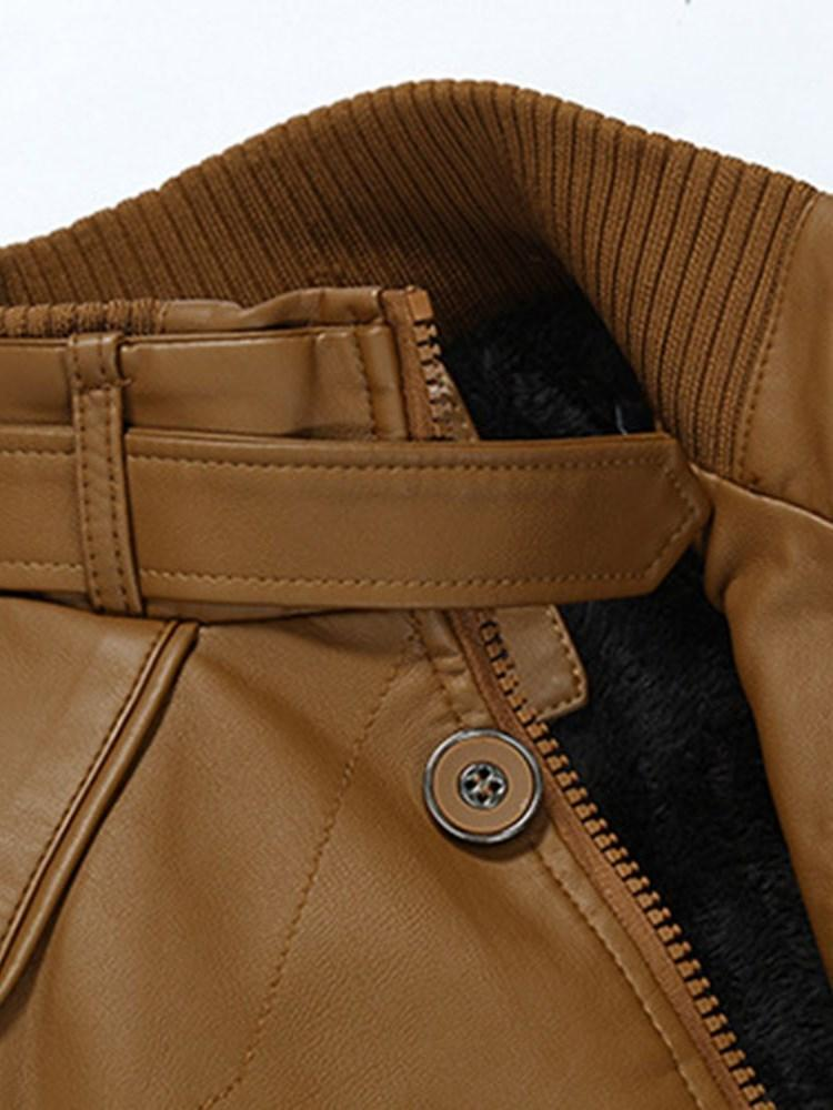 Patchwork Plain Stand Collar Zipper European Jacket