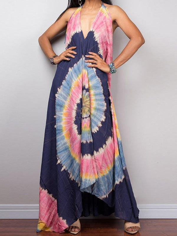 Sleeveless Floor-Length Print Sexy Expansion Dress