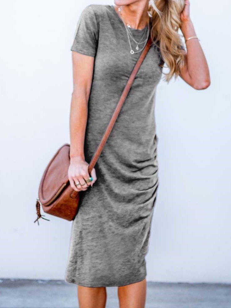 Short Sleeve Round Neck Mid-Calf Pullover Plain Dress