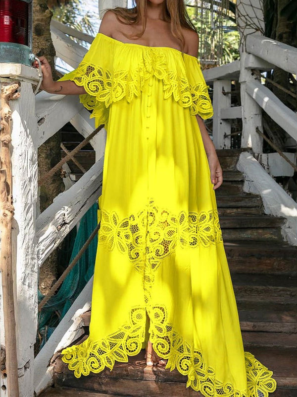 Half Sleeve Floor-Length Off Shoulder Fashion Plain Dress