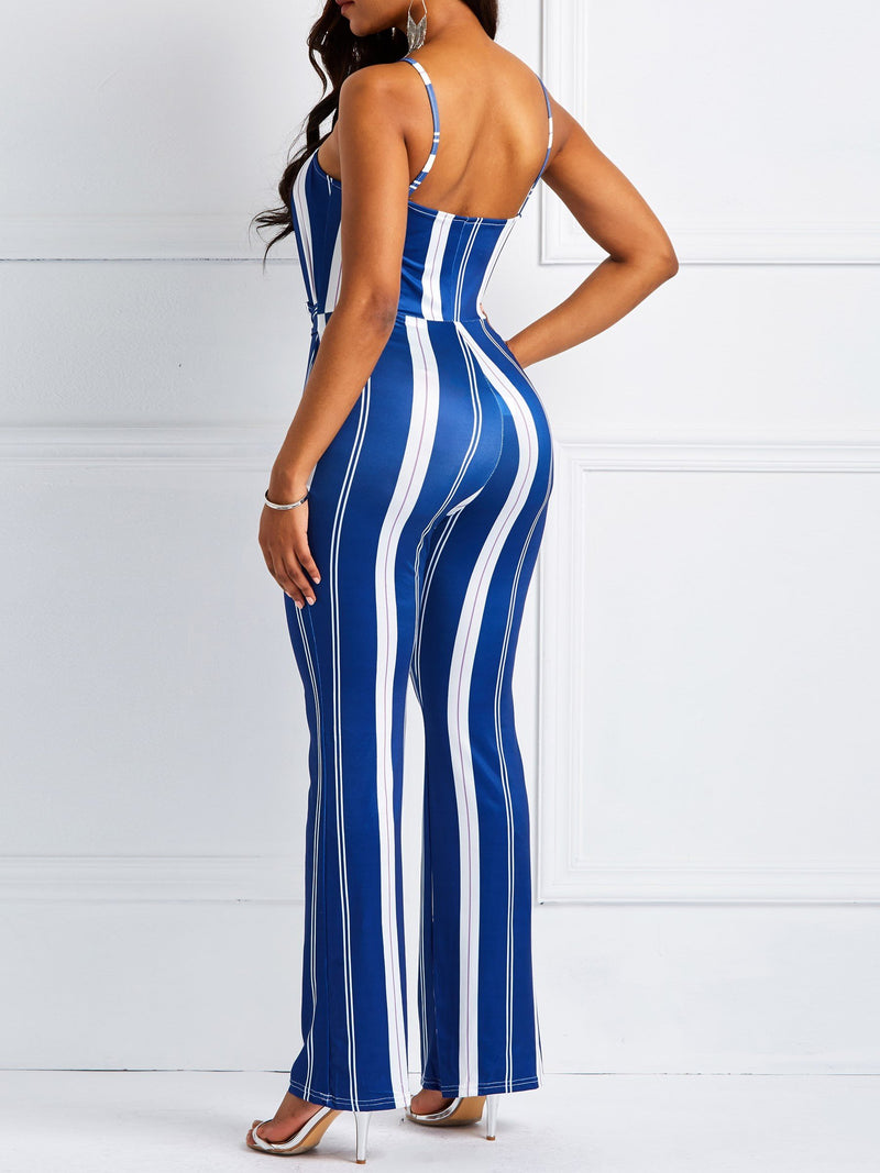 Lace-Up Fashion Full Length Slim Jumpsuits