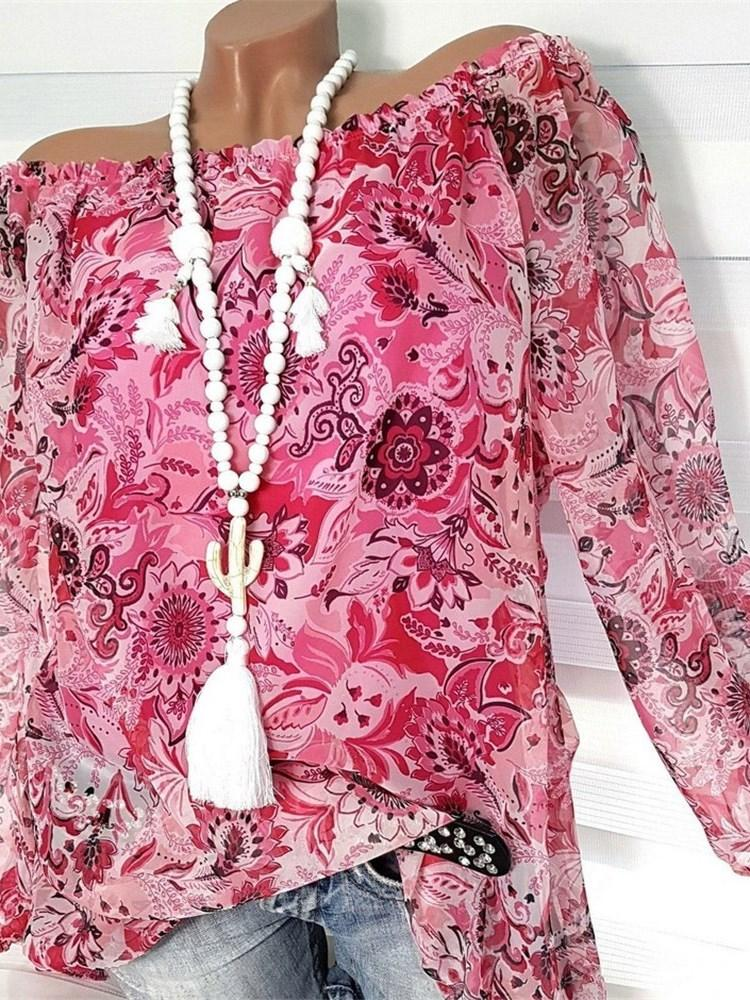 Print Off Shoulder Floral Long Sleeve Mid-Length Blouse