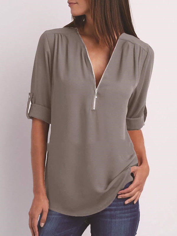 Plain V-Neck Regular Mid-Length Long Sleeve Blouse