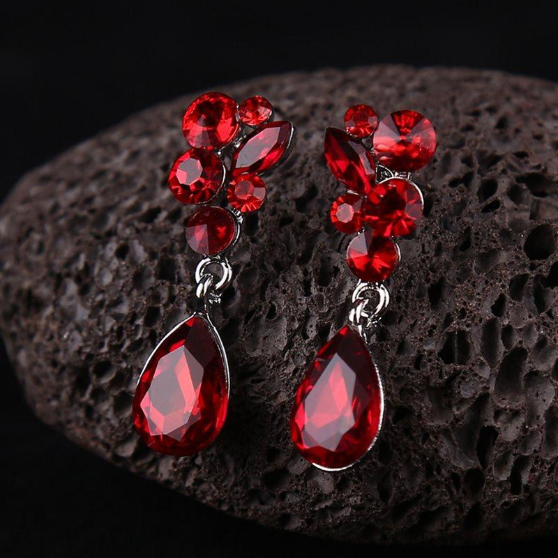 Diamante Water Drop Earrings Holiday Jewelry Sets