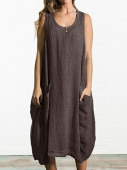 Mid-Calf Scoop Sleeveless A-Line Plain Dress