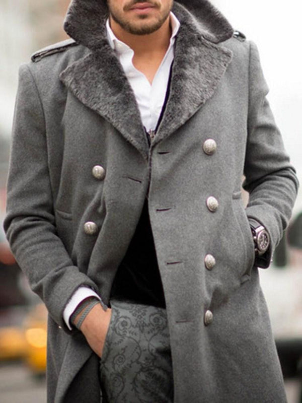 Mid-Length Plain Button Fashion Fall Coat