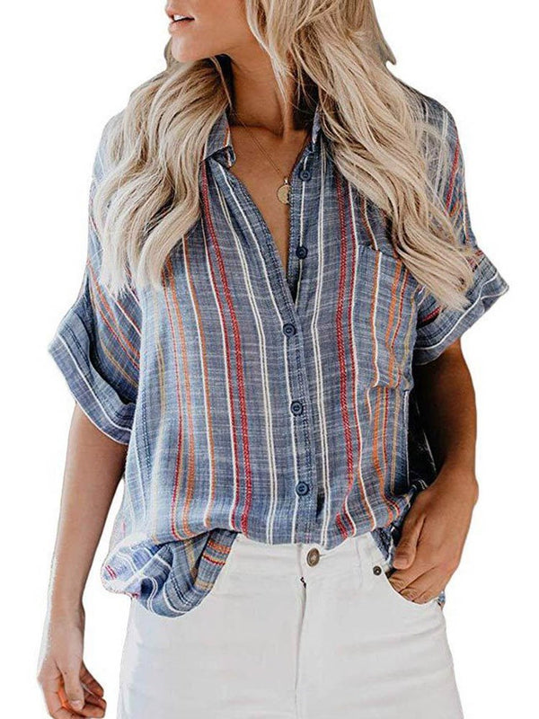 Stripe Mid-Length Half Sleeve Blouse