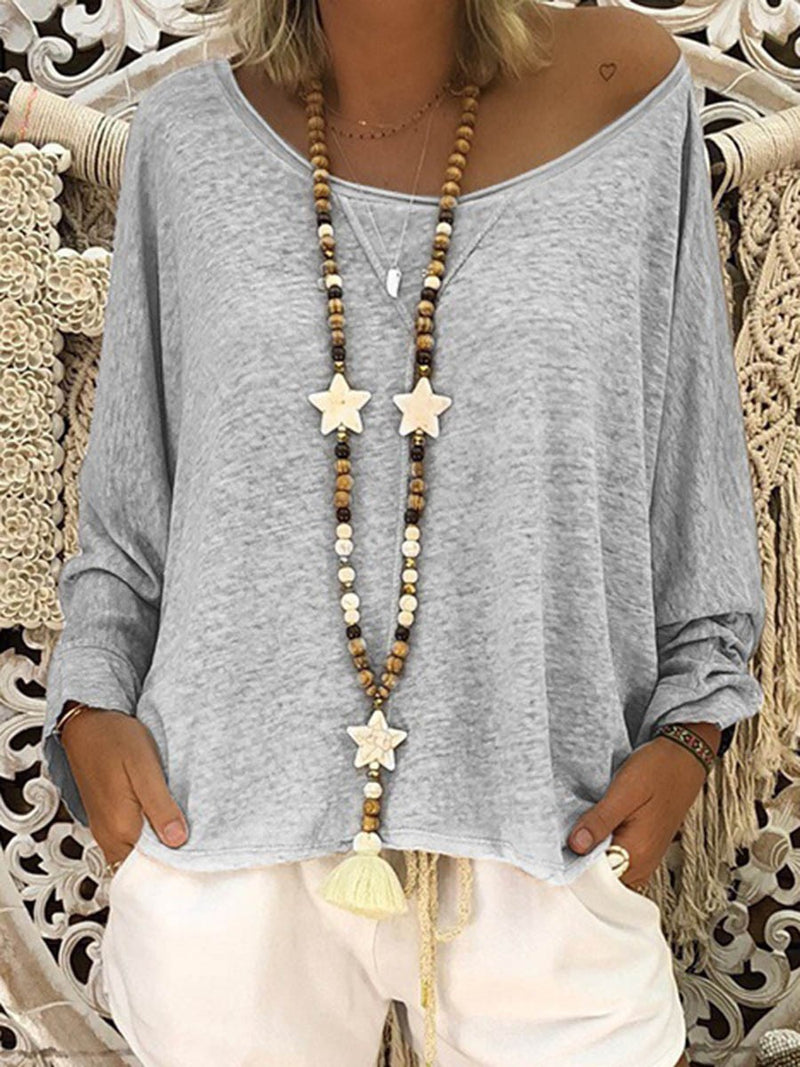 Plain Long Sleeve Round Neck Loose Casual T-Shirt