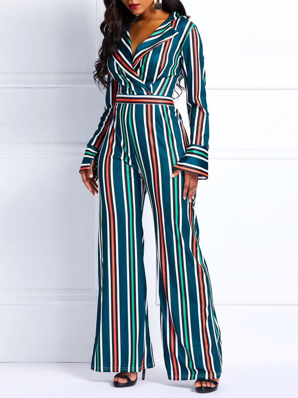 Print Full Length Stripe High-Waist Wide Legs Jumpsuits