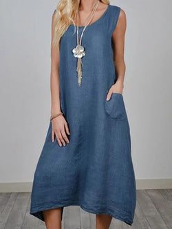 Sleeveless Asymmetric Round Neck Casual Plain Dress