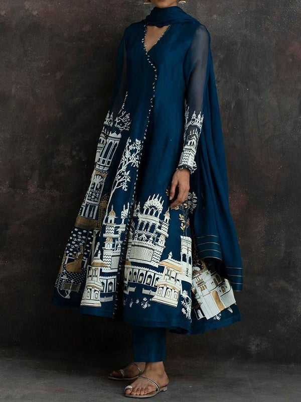 Ethnic Dress Mid-Calf Long Sleeve Print Pullover Expansion Dress Diwali