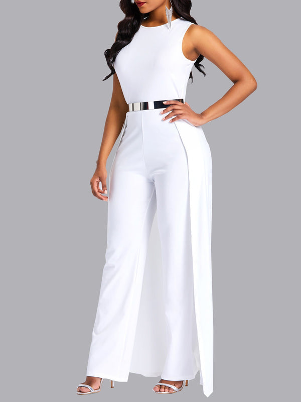 Travel Look Patchwork Plain High-Waist Slim Jumpsuits