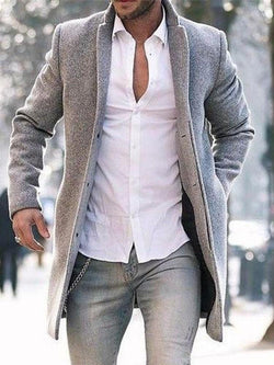 Mid-Length Plain Slim Spring Coat