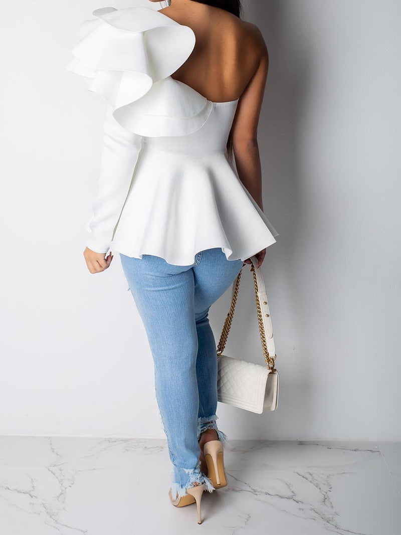 Plain Falbala Long Sleeve Mid-Length Blouse