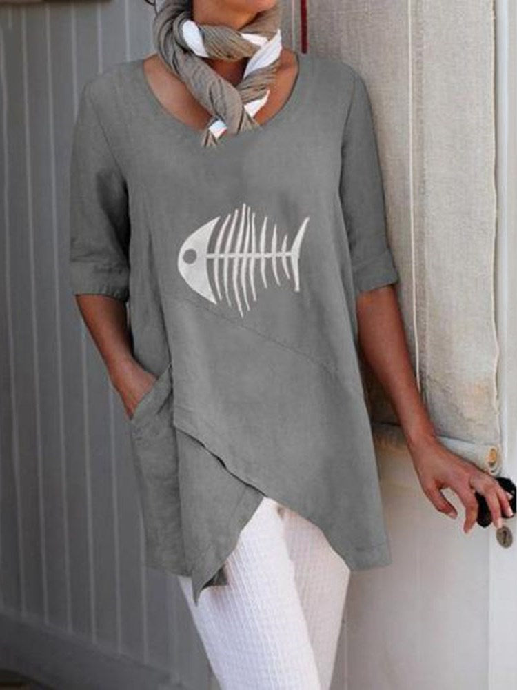 Mid-Length Half Sleeve Straight Casual T-Shirt