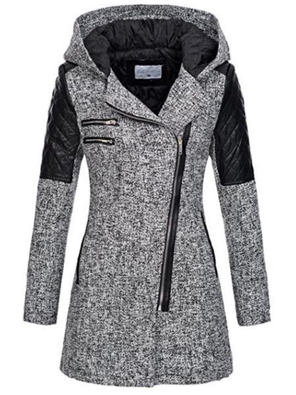Slim Zipper Long Sleeve Long Hooded Jacket