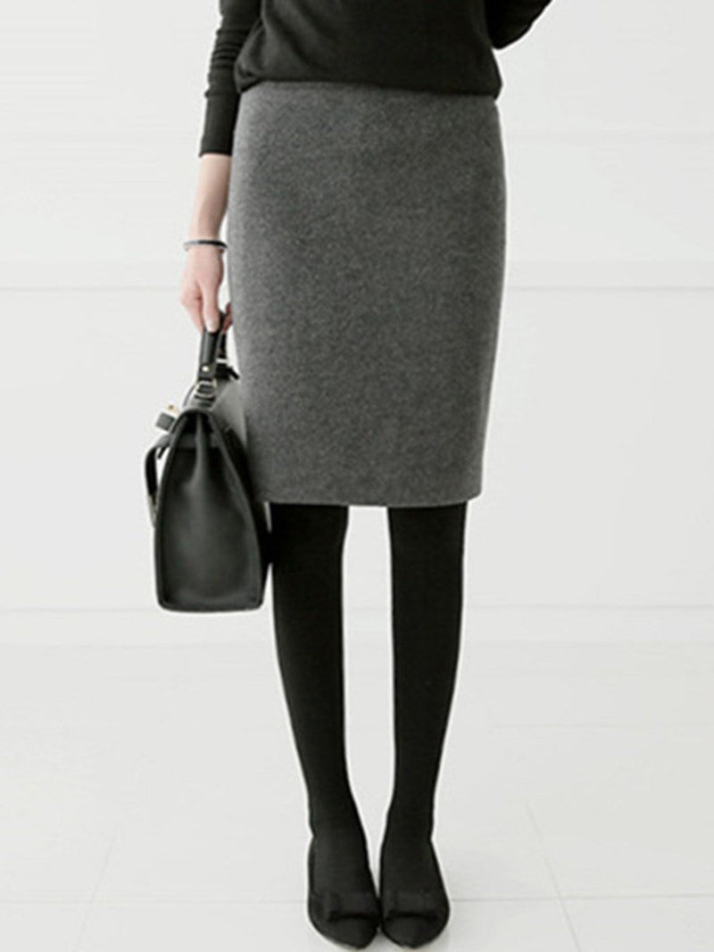 Plain Winter Office Lady Straight Thicker Women's Skirt
