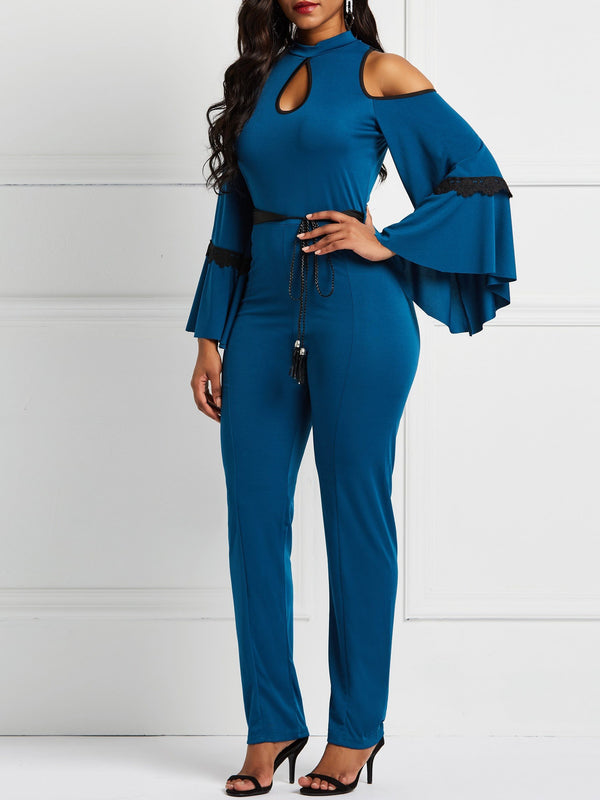 Full Length England Falbala Straight Slim Jumpsuit