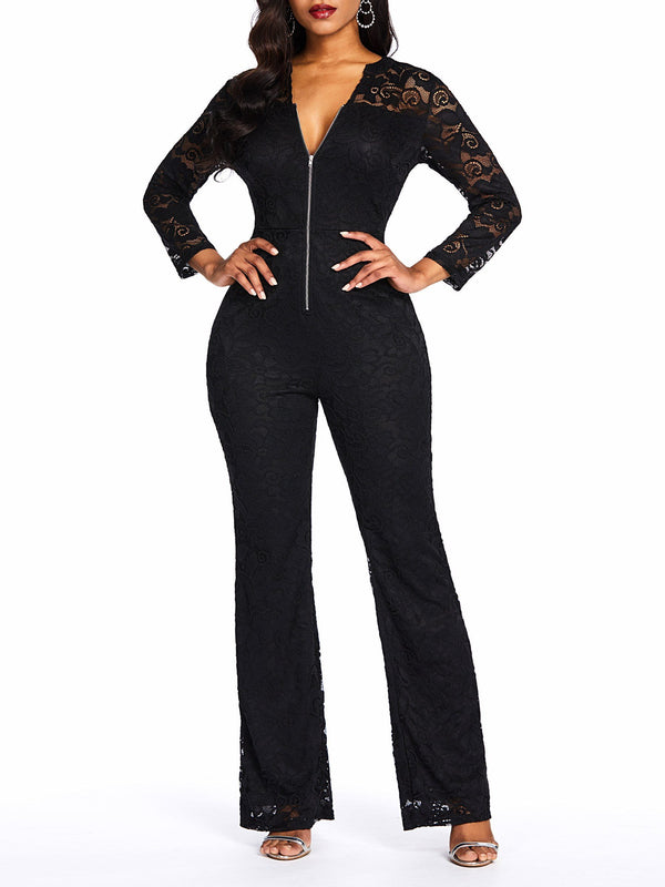 Plain Zipper Date Night Bellbottoms Slim Jumpsuit