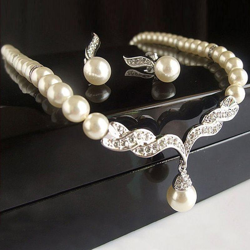 Korean Necklace Pearl Inlaid Jewelry Sets (Wedding)