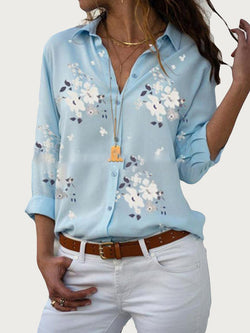 Print Lapel Floral Long Sleeve Mid-Length Blouse