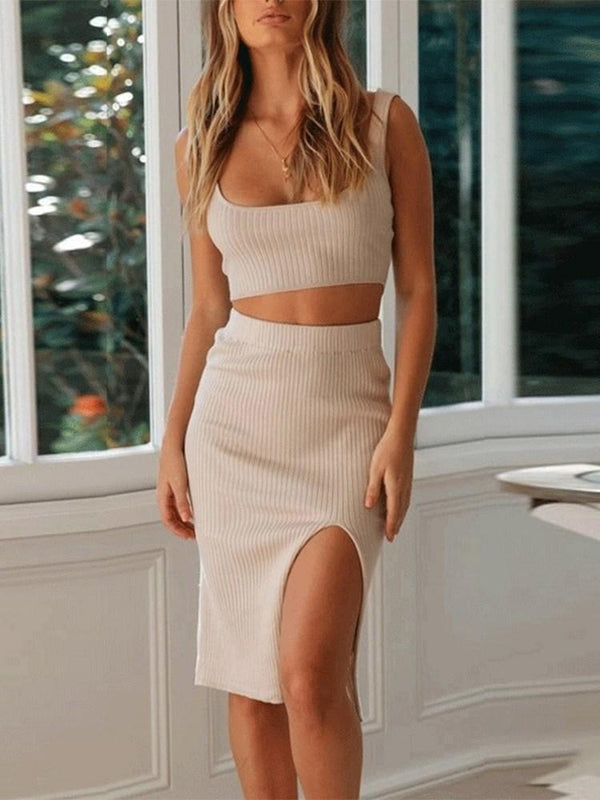 Sexy Split Skirt Scoop Pullover Two Piece Sets