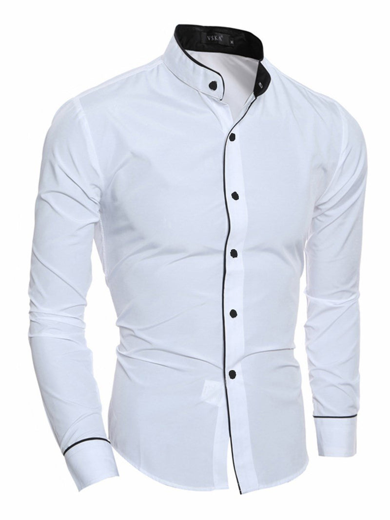 Button Plain Lapel Slim Spring Shirt