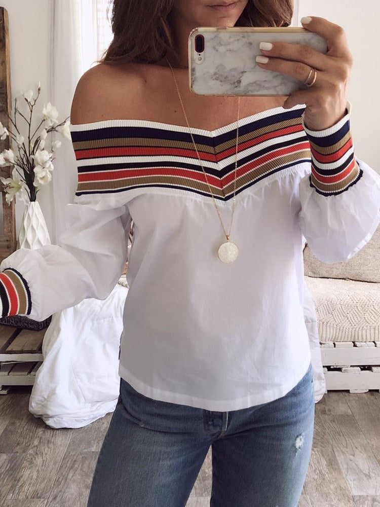 Color Block Patchwork Off Shoulder Standard Long Sleeve Blouse
