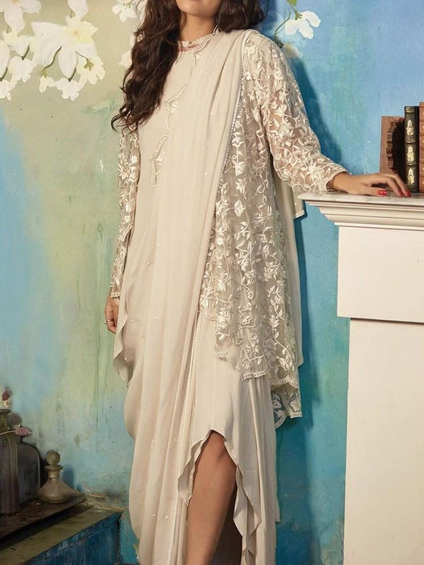 Ethnic Dress Lace Ankle-Length Long Sleeve Asymmetrical Western Dress Diwali