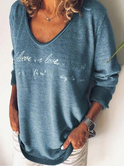 V-Neck Letter Mid-Length Casual Loose T-Shirt