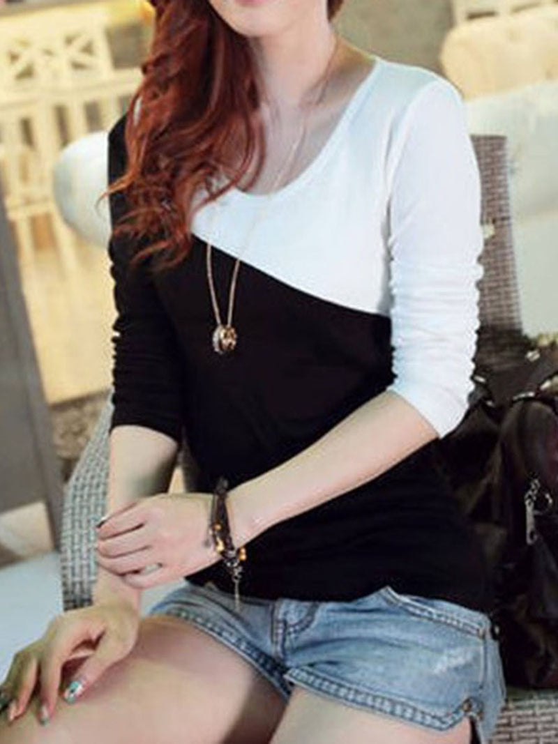 Mid-Length Round Neck Color Block Slim Spring T-Shirt
