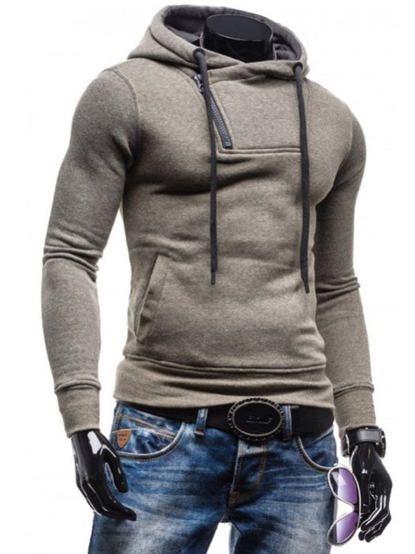 Pullover Zipper Plain Hooded Casual Hoodies