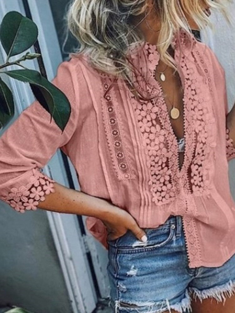 Patchwork Standard Long Sleeve Blouse