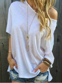 Half Sleeve Plain Mid-Length Casual Loose T-Shirt