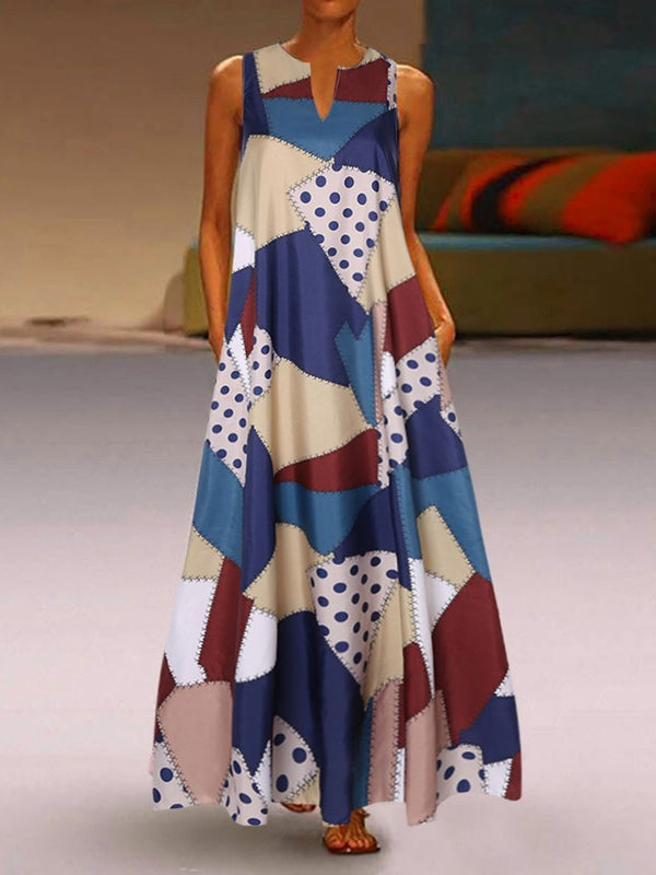 Sleeveless Ankle-Length Print A-Line Color Block Dress