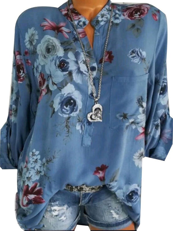 Floral Button Three-Quarter Sleeve Mid-Length Blouse